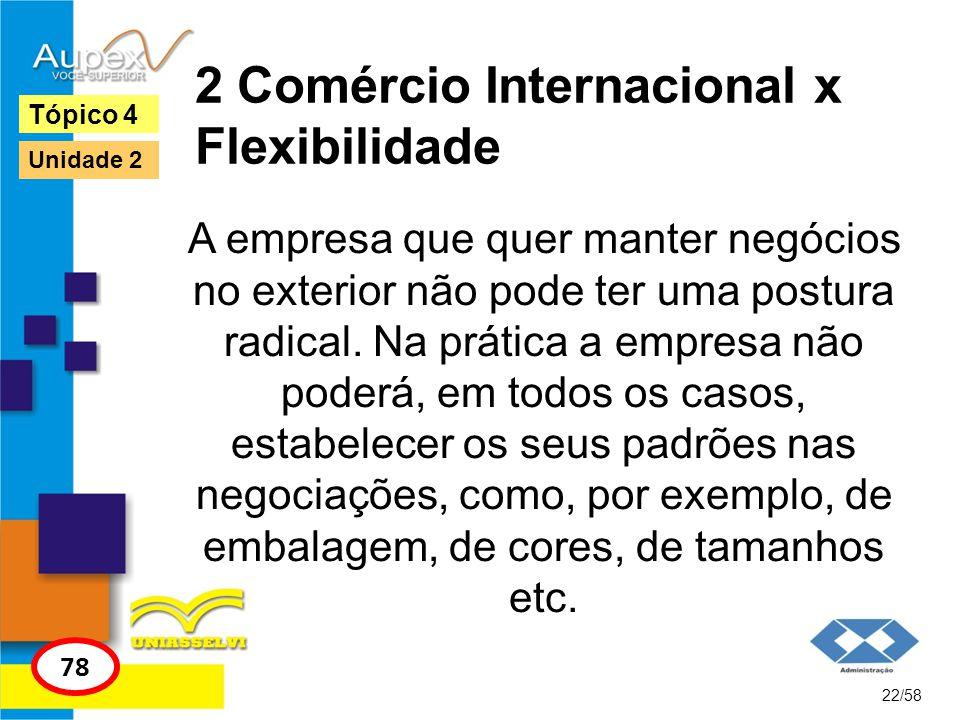 2 Comércio Internacional x Flexibilidade A empresa que quer manter negócios no exterior não pode ter uma postura radical. Na prática a empresa não pod