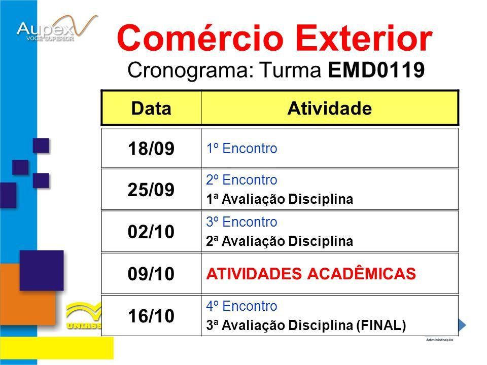 Cronograma: Turma EMD0119 Comércio Exterior DataAtividade 09/10 ATIVIDADES ACADÊMICAS 18/09 1º Encontro 02/10 3º Encontro 2ª Avaliação Disciplina 16/1