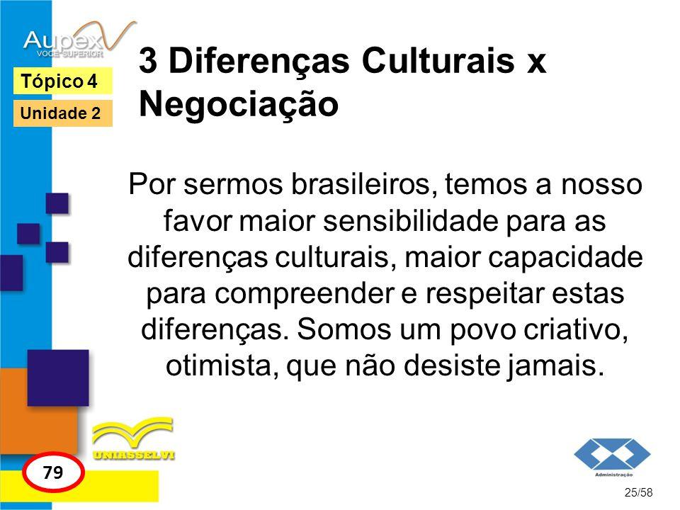 3 Diferenças Culturais x Negociação Por sermos brasileiros, temos a nosso favor maior sensibilidade para as diferenças culturais, maior capacidade par