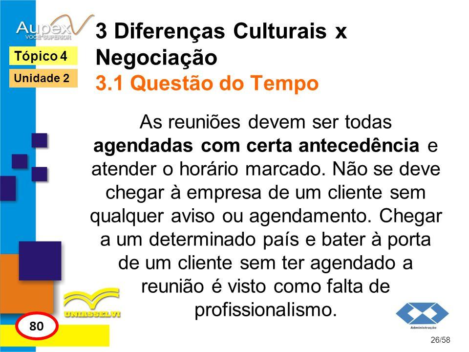 3 Diferenças Culturais x Negociação 3.1 Questão do Tempo As reuniões devem ser todas agendadas com certa antecedência e atender o horário marcado. Não