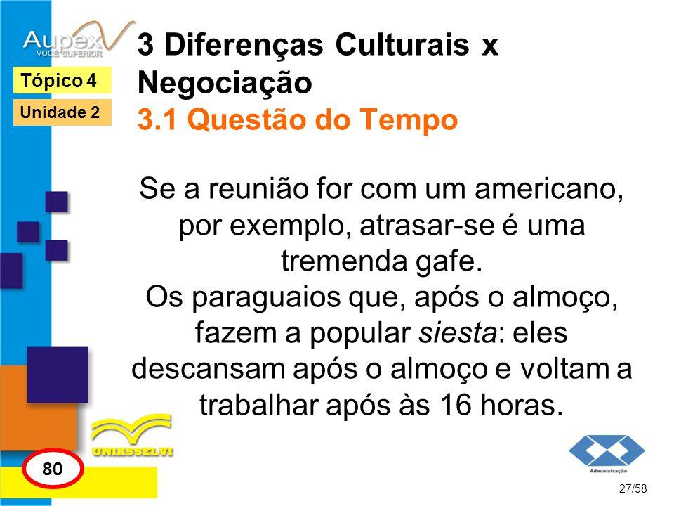 3 Diferenças Culturais x Negociação 3.1 Questão do Tempo Se a reunião for com um americano, por exemplo, atrasar-se é uma tremenda gafe. Os paraguaios