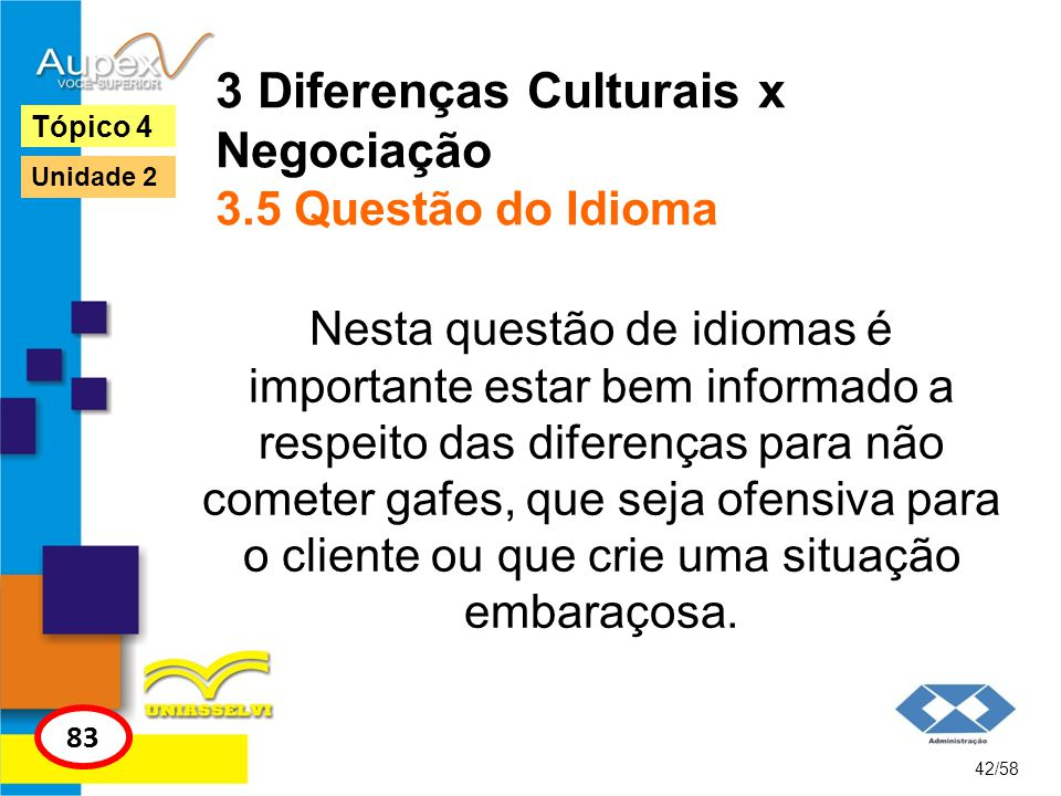3 Diferenças Culturais x Negociação 3.5 Questão do Idioma Nesta questão de idiomas é importante estar bem informado a respeito das diferenças para não