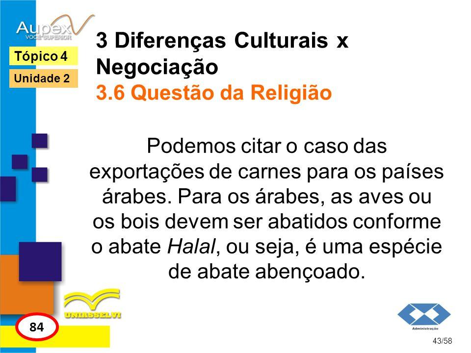 3 Diferenças Culturais x Negociação 3.6 Questão da Religião Podemos citar o caso das exportações de carnes para os países árabes. Para os árabes, as a