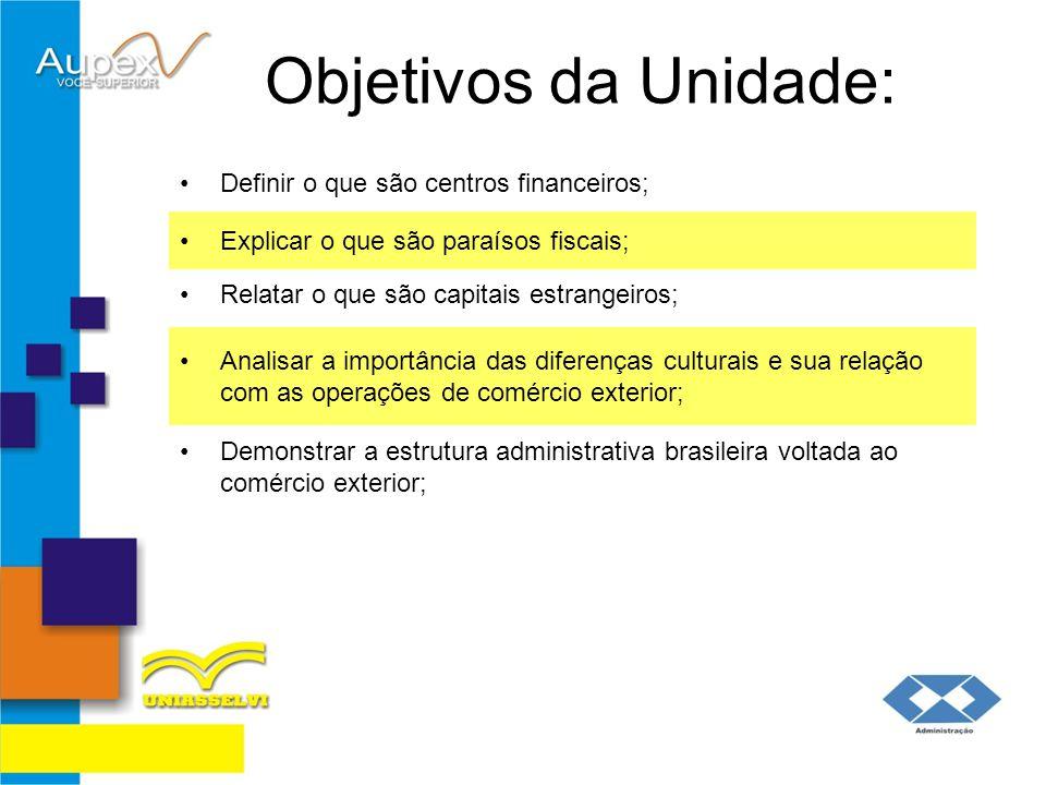 Objetivos da Unidade: Definir o que são centros financeiros; Explicar o que são paraísos fiscais; Relatar o que são capitais estrangeiros; Analisar a