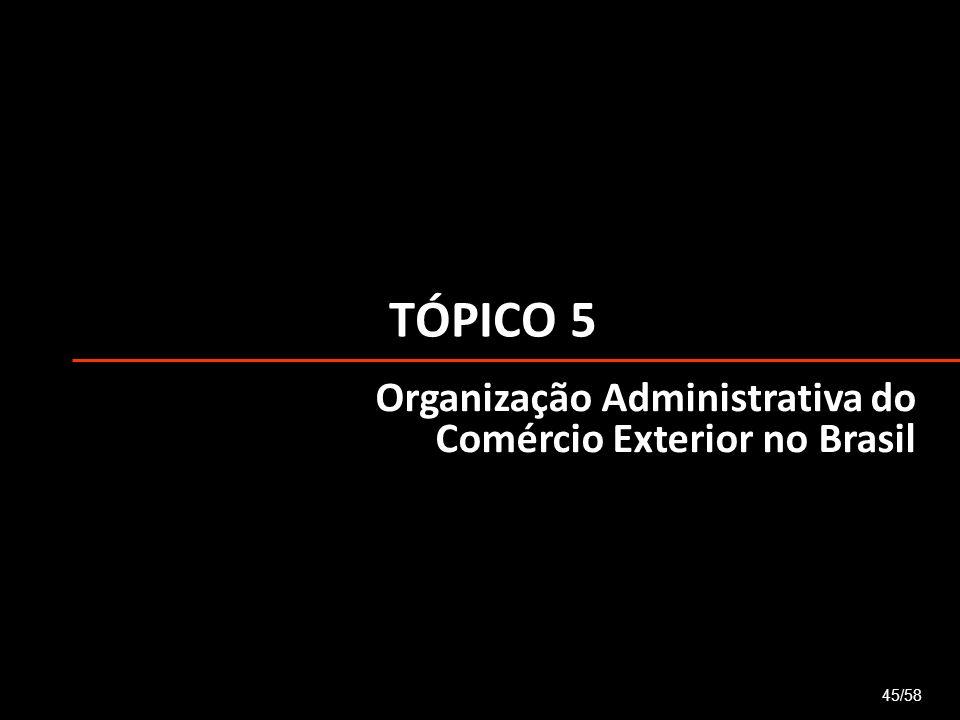 TÓPICO 5 45/58 Organização Administrativa do Comércio Exterior no Brasil