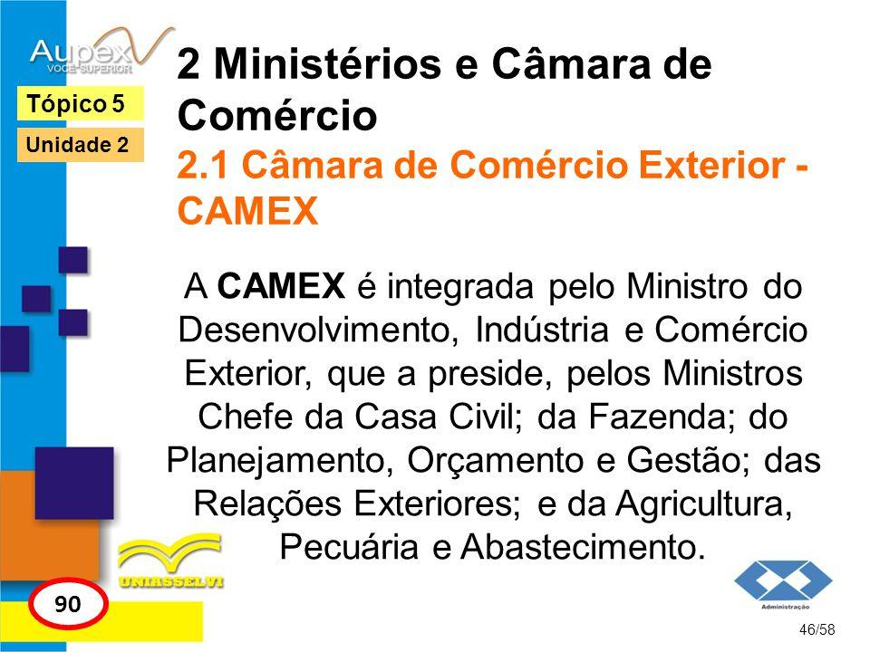 2 Ministérios e Câmara de Comércio 2.1 Câmara de Comércio Exterior - CAMEX A CAMEX é integrada pelo Ministro do Desenvolvimento, Indústria e Comércio