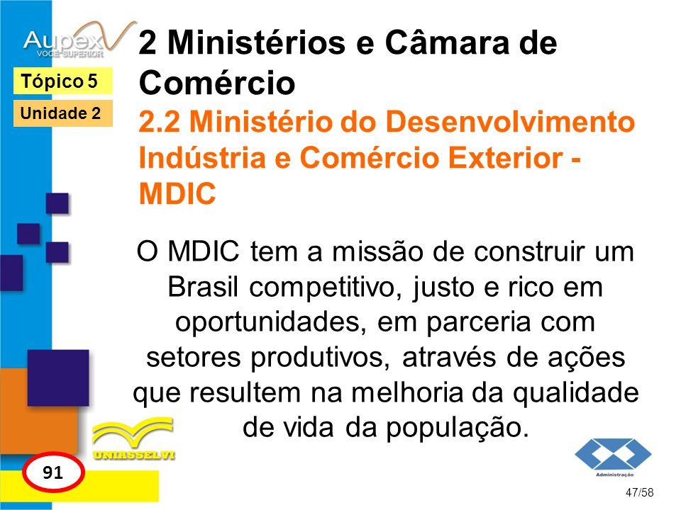 2 Ministérios e Câmara de Comércio 2.2 Ministério do Desenvolvimento Indústria e Comércio Exterior - MDIC O MDIC tem a missão de construir um Brasil c