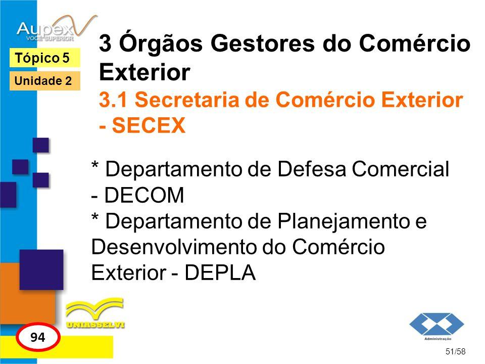 3 Órgãos Gestores do Comércio Exterior 3.1 Secretaria de Comércio Exterior - SECEX * Departamento de Defesa Comercial - DECOM * Departamento de Planej