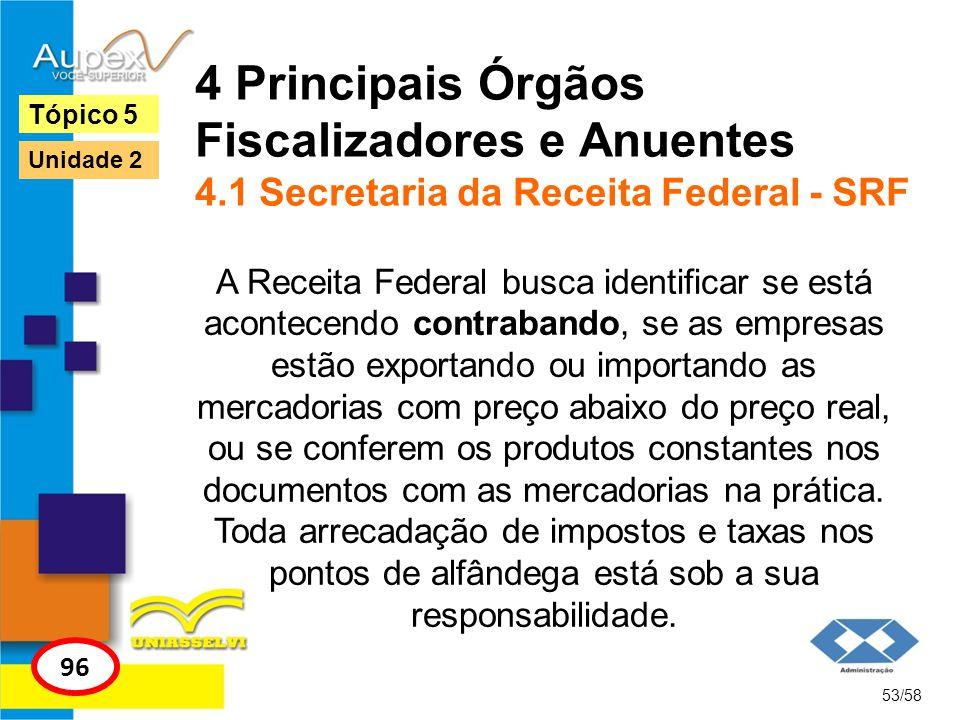 4 Principais Órgãos Fiscalizadores e Anuentes 4.1 Secretaria da Receita Federal - SRF A Receita Federal busca identificar se está acontecendo contraba
