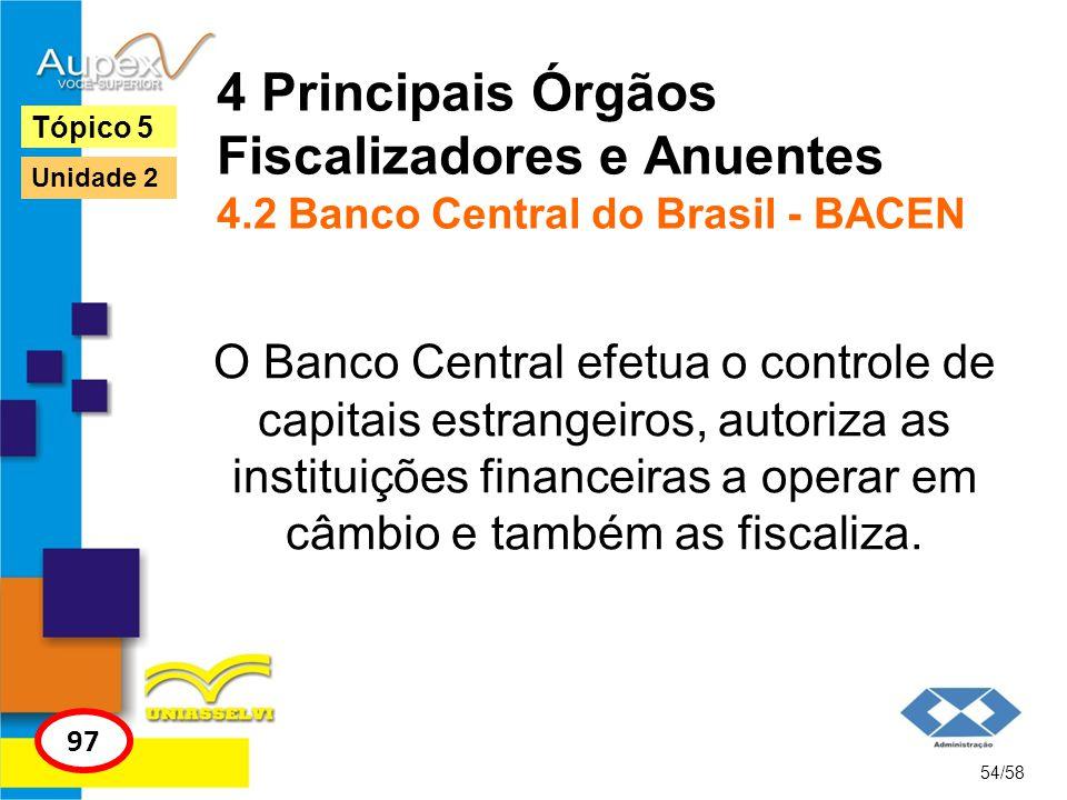4 Principais Órgãos Fiscalizadores e Anuentes 4.2 Banco Central do Brasil - BACEN O Banco Central efetua o controle de capitais estrangeiros, autoriza