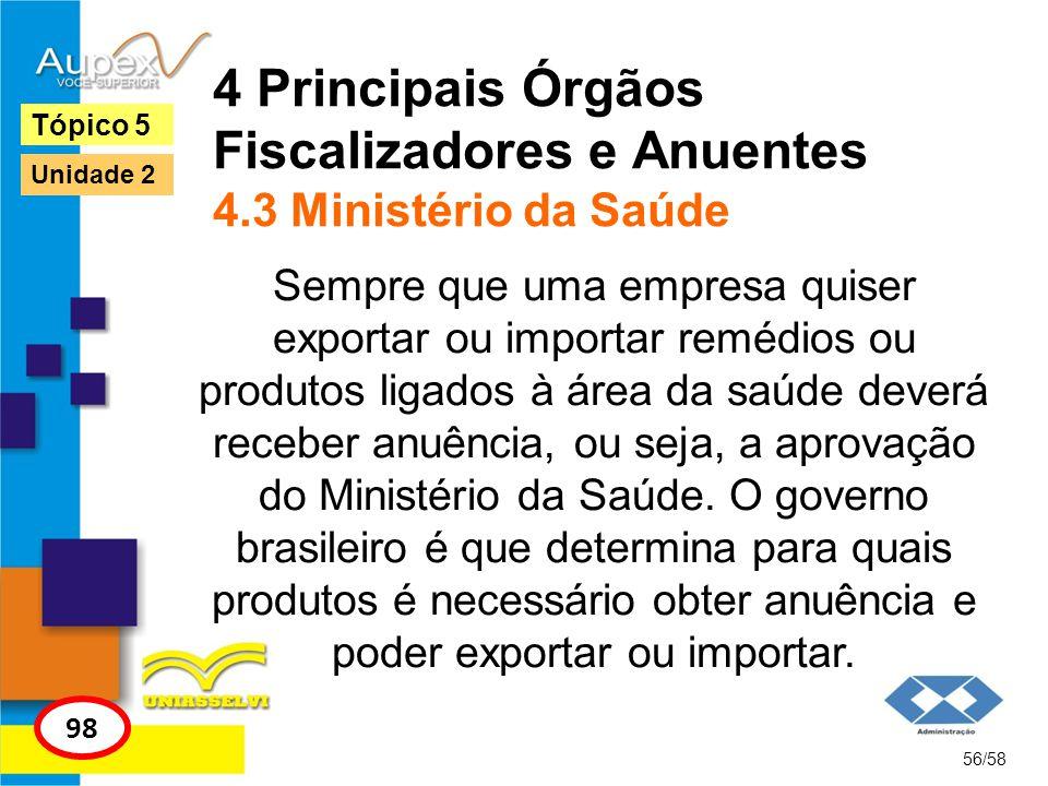 4 Principais Órgãos Fiscalizadores e Anuentes 4.3 Ministério da Saúde Sempre que uma empresa quiser exportar ou importar remédios ou produtos ligados