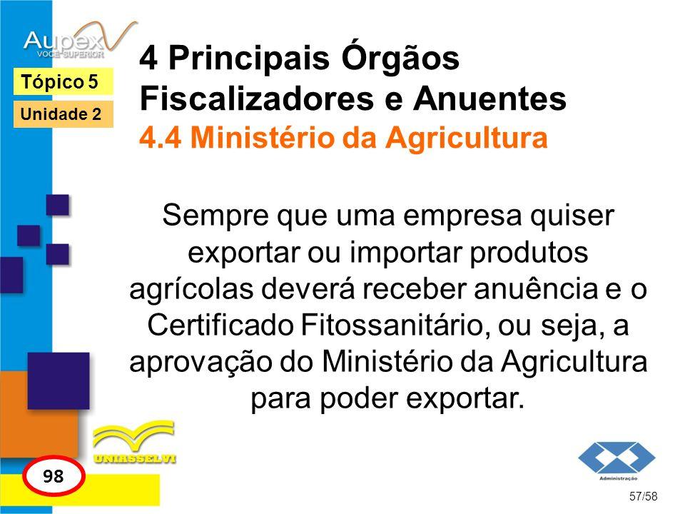 4 Principais Órgãos Fiscalizadores e Anuentes 4.4 Ministério da Agricultura Sempre que uma empresa quiser exportar ou importar produtos agrícolas deve