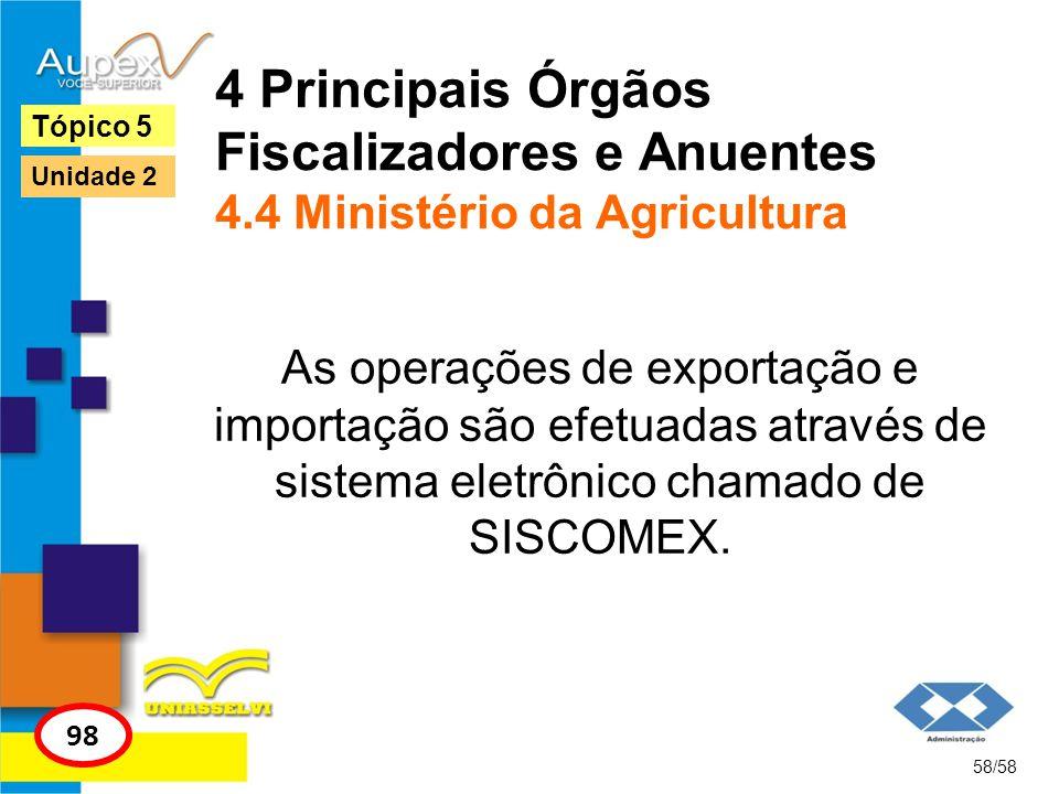 4 Principais Órgãos Fiscalizadores e Anuentes 4.4 Ministério da Agricultura As operações de exportação e importação são efetuadas através de sistema e