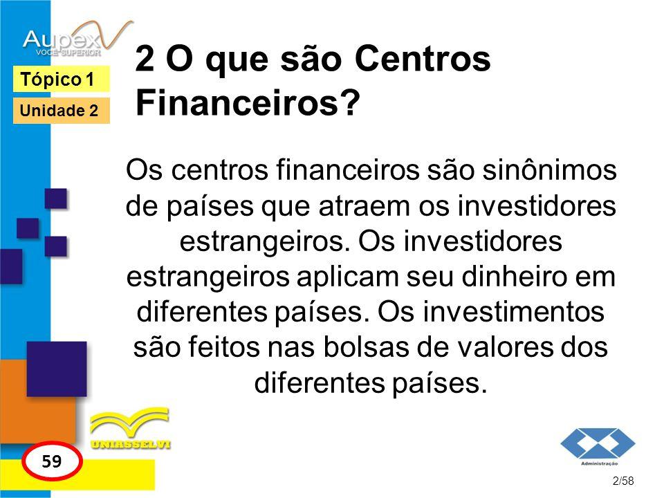 2 O que são Centros Financeiros? Os centros financeiros são sinônimos de países que atraem os investidores estrangeiros. Os investidores estrangeiros