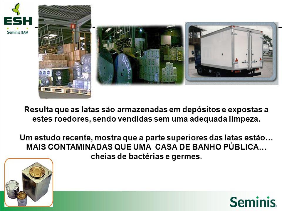 Resulta que as latas são armazenadas em depósitos e expostas a estes roedores, sendo vendidas sem uma adequada limpeza. Um estudo recente, mostra que