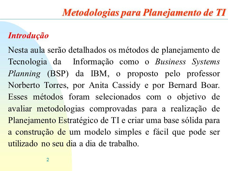 2 Introdução Nesta aula serão detalhados os métodos de planejamento de Tecnologia da Informação como o Business Systems Planning (BSP) da IBM, o propo
