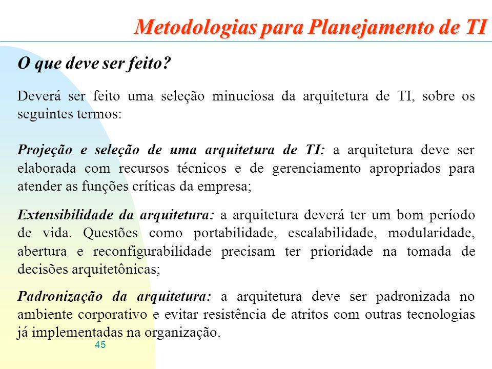 45 Metodologias para Planejamento de TI O que deve ser feito? Deverá ser feito uma seleção minuciosa da arquitetura de TI, sobre os seguintes termos: