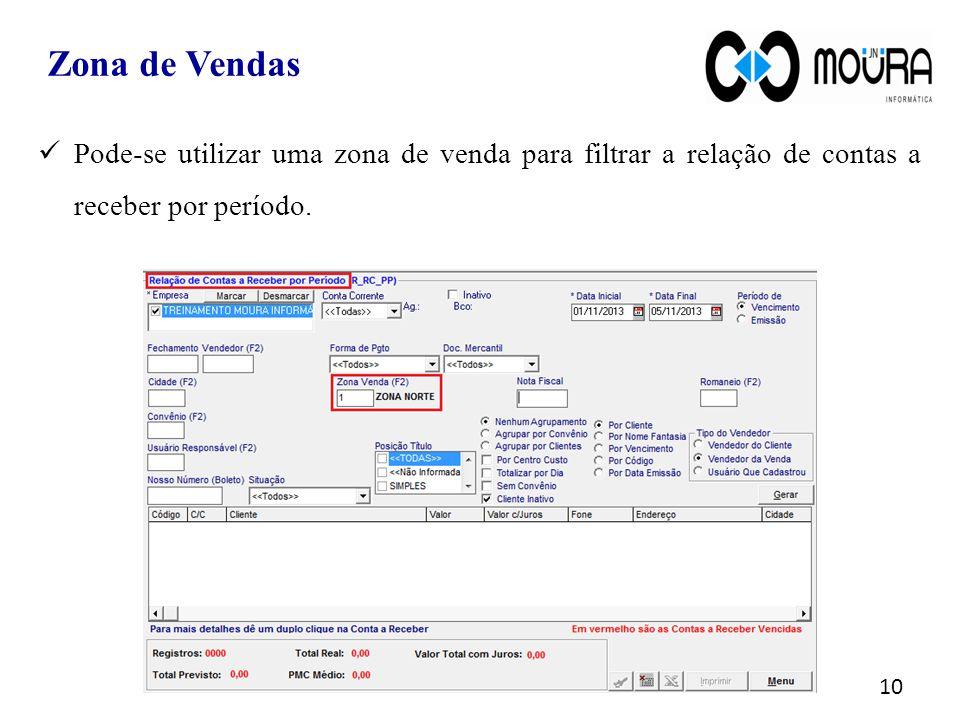Zona de Vendas 10 Pode-se utilizar uma zona de venda para filtrar a relação de contas a receber por período.