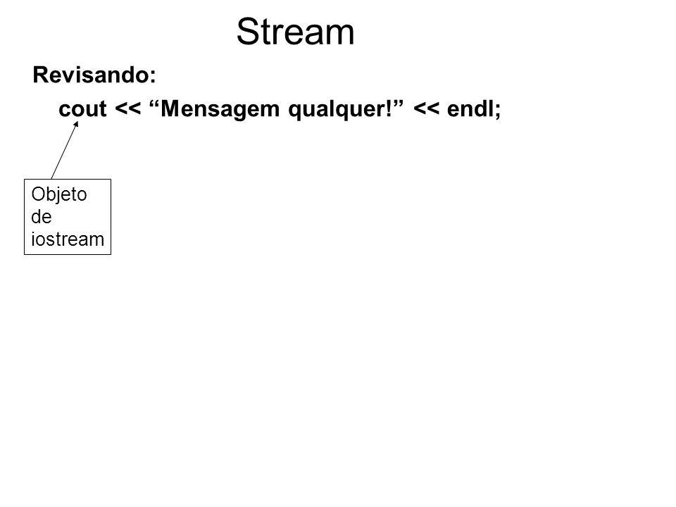 Stream Revisando: cout << Mensagem qualquer! << endl; Objeto de iostream