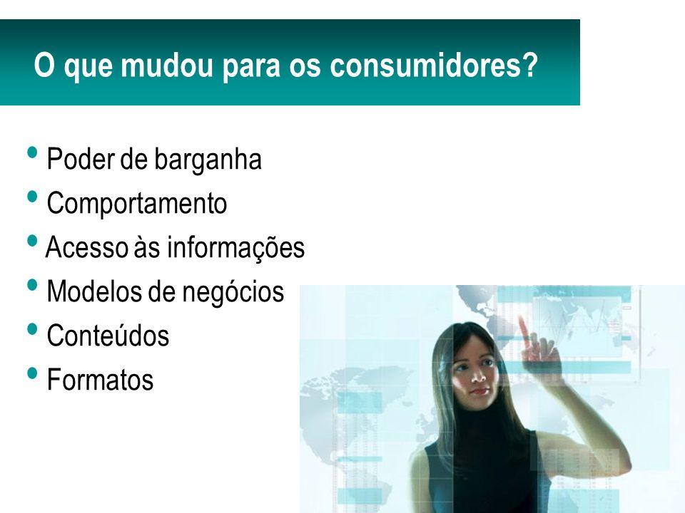 Poder de barganha Comportamento Acesso às informações Modelos de negócios Conteúdos Formatos O que mudou para os consumidores