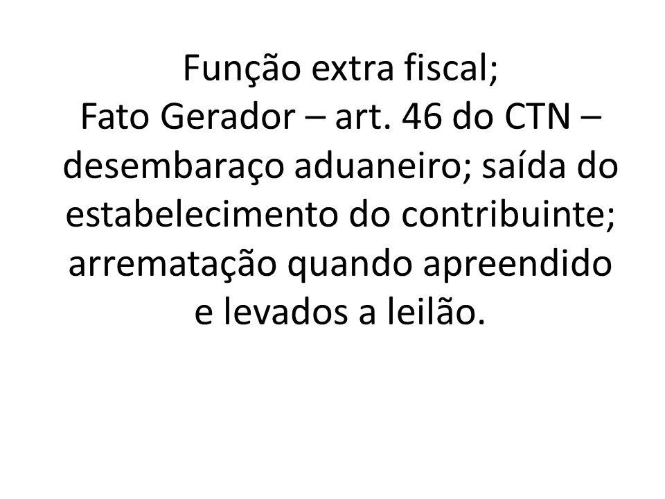 Função extra fiscal; Fato Gerador – art.