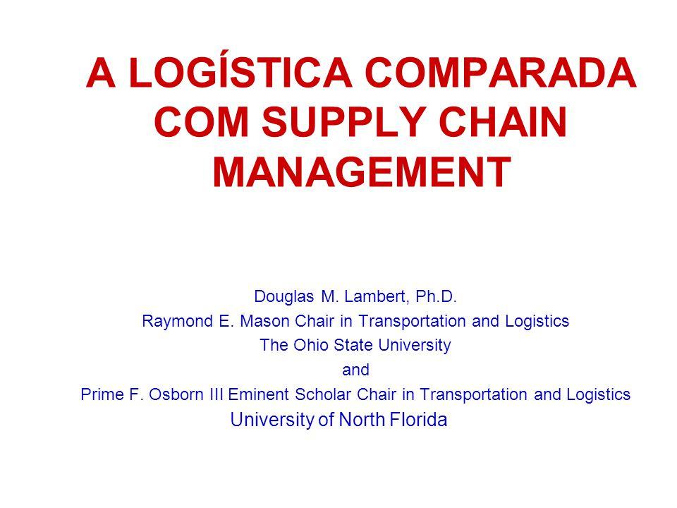 A LOGÍSTICA COMPARADA COM SUPPLY CHAIN MANAGEMENT Douglas M. Lambert, Ph.D. Raymond E. Mason Chair in Transportation and Logistics The Ohio State Univ