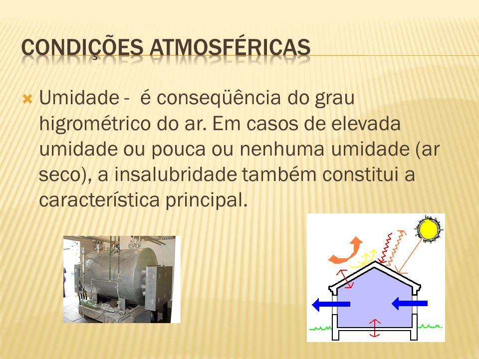 Umidade - é conseqüência do grau higrométrico do ar. Em casos de elevada umidade ou pouca ou nenhuma umidade (ar seco), a insalubridade também constit