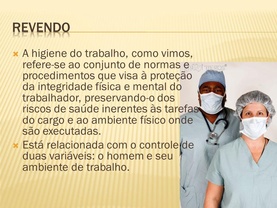 A higiene do trabalho, como vimos, refere-se ao conjunto de normas e procedimentos que visa à proteção da integridade física e mental do trabalhador,