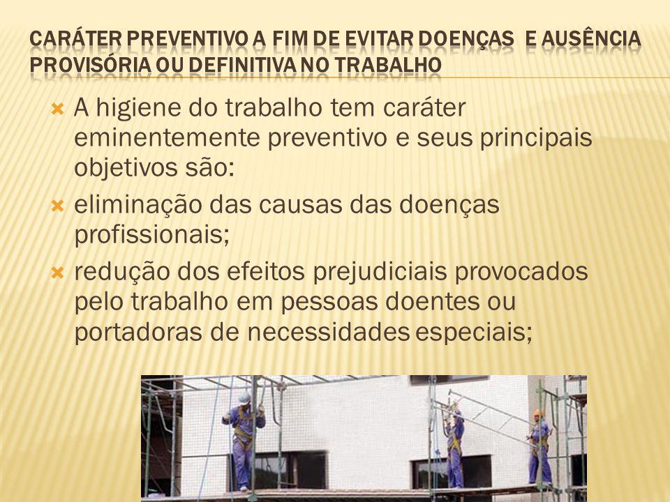 A higiene do trabalho tem caráter eminentemente preventivo e seus principais objetivos são: eliminação das causas das doenças profissionais; redução d