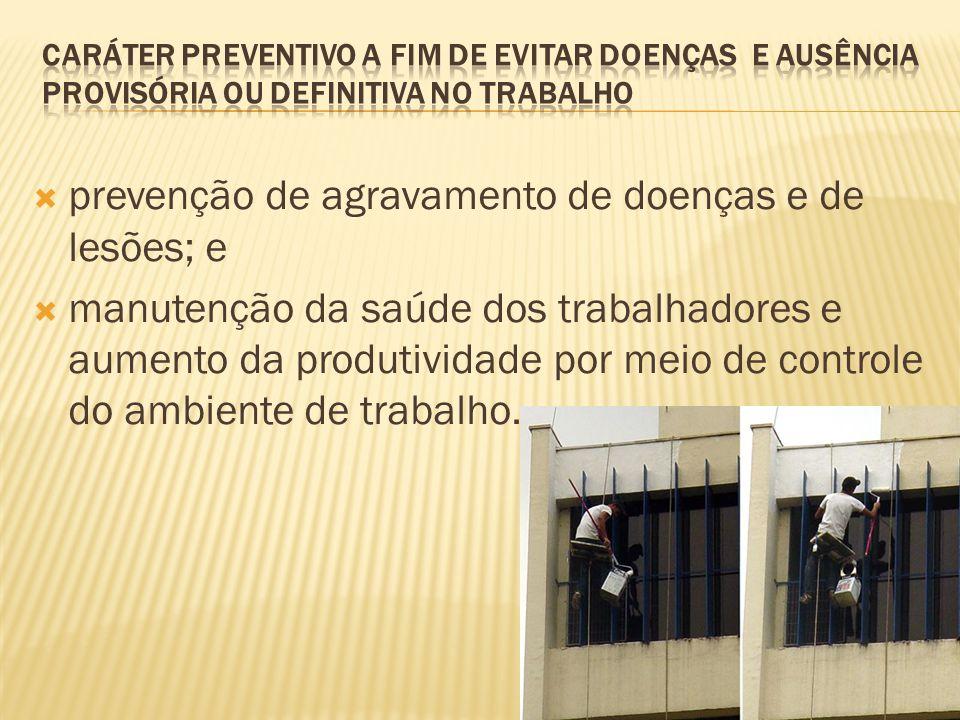 prevenção de agravamento de doenças e de lesões; e manutenção da saúde dos trabalhadores e aumento da produtividade por meio de controle do ambiente d