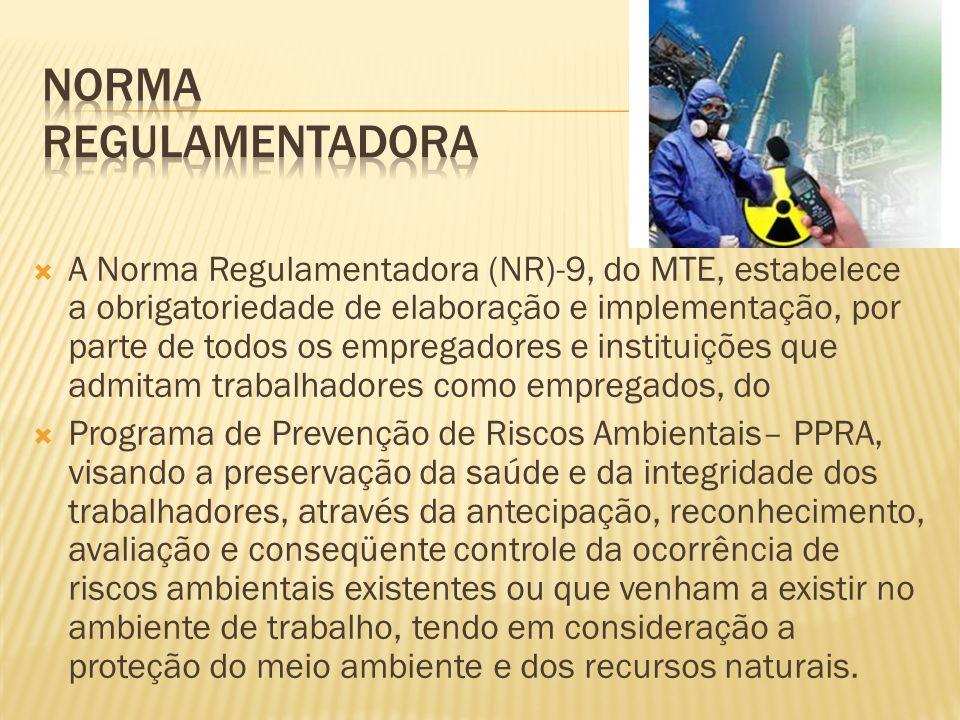 A Norma Regulamentadora (NR)-9, do MTE, estabelece a obrigatoriedade de elaboração e implementação, por parte de todos os empregadores e instituições