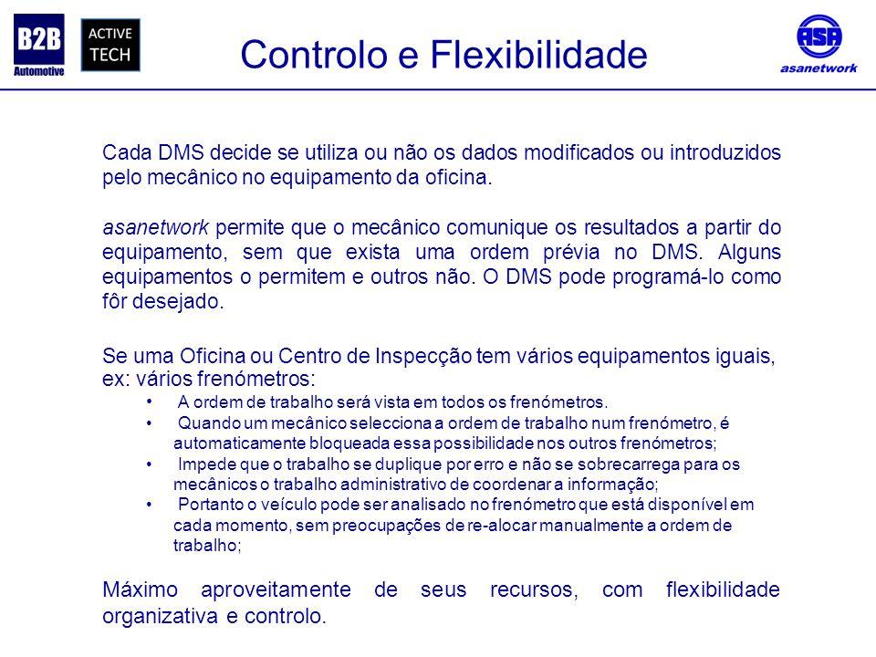 Controlo e Flexibilidade Cada DMS decide se utiliza ou não os dados modificados ou introduzidos pelo mecânico no equipamento da oficina.