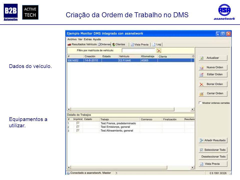 Equipamentos a utilizar. Dados do veículo. Criação da Ordem de Trabalho no DMS
