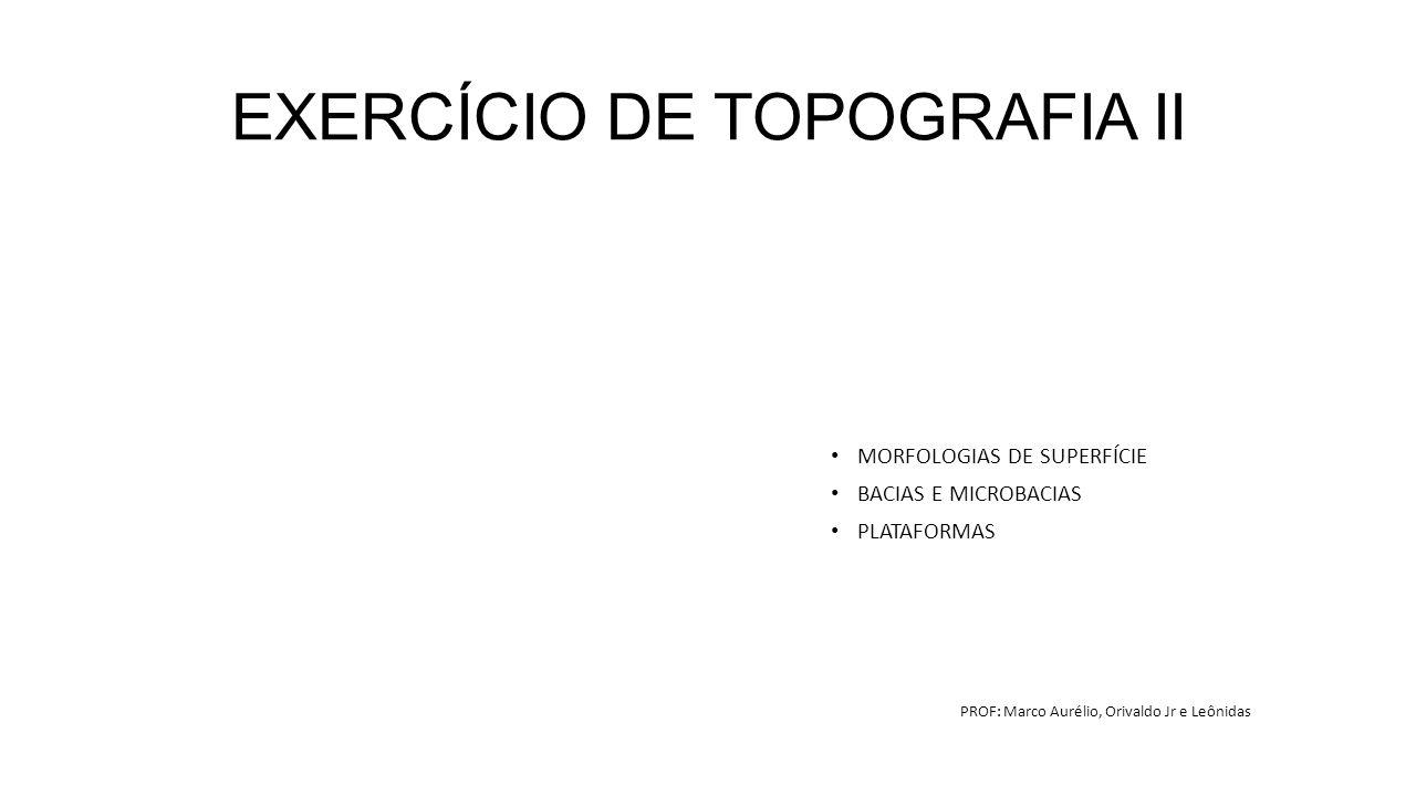 EXERCÍCIO DE TOPOGRAFIA II MORFOLOGIAS DE SUPERFÍCIE BACIAS E MICROBACIAS PLATAFORMAS PROF: Marco Aurélio, Orivaldo Jr e Leônidas