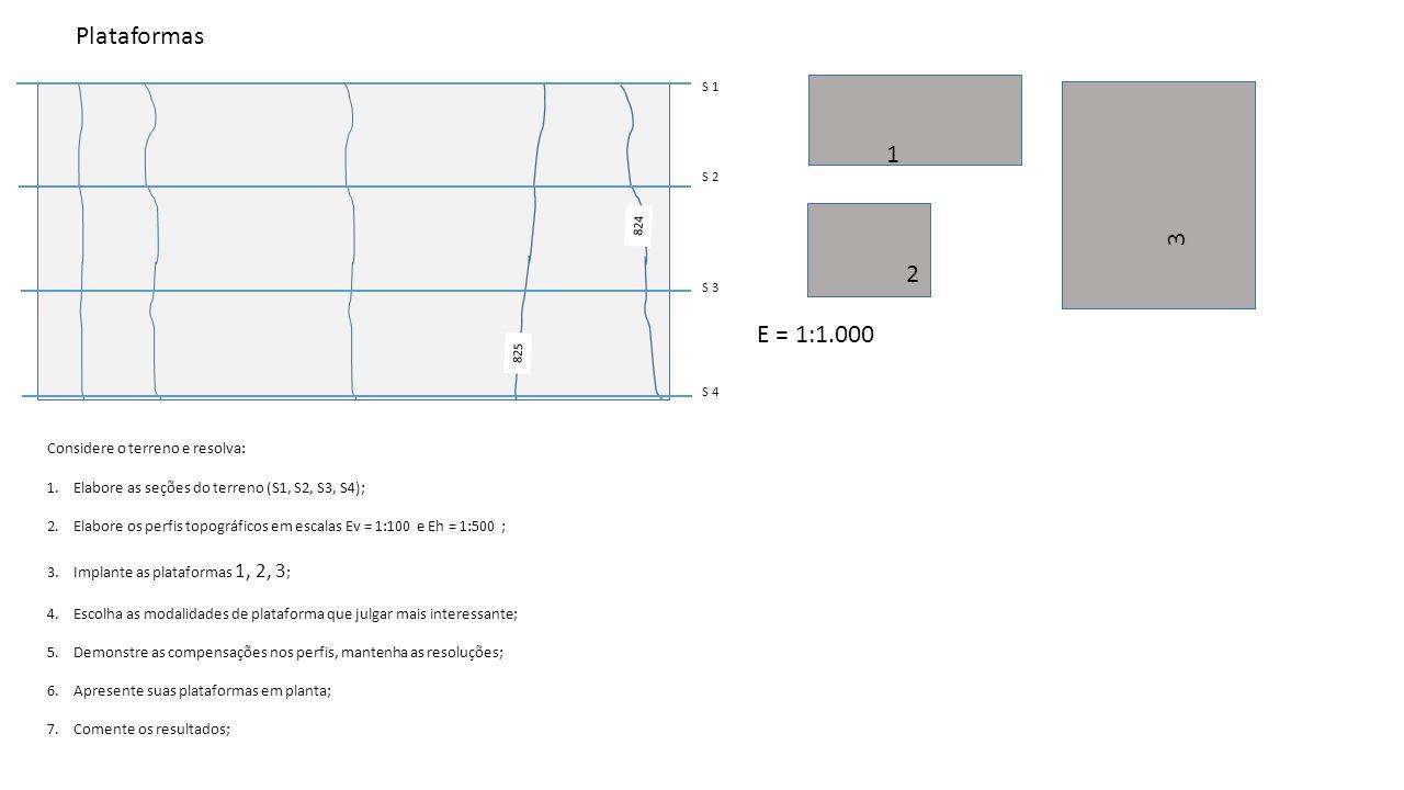825 824 1 2 3 E = 1:1.000 S 1 S 2 S 3 S 4 Considere o terreno e resolva: 1.Elabore as seções do terreno (S1, S2, S3, S4); 2.Elabore os perfis topográf