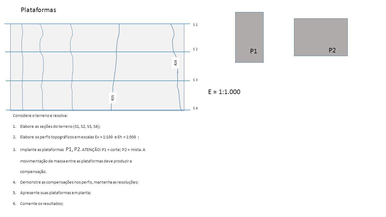 825 824 P1 P2 E = 1:1.000 S 1 S 2 S 3 S 4 Considere o terreno e resolva: 1.Elabore as seções do terreno (S1, S2, S3, S4); 2.Elabore os perfis topográf