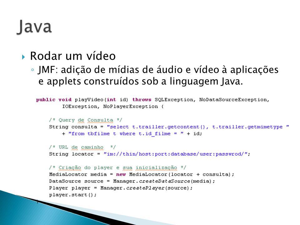 Rodar um vídeo JMF: adição de mídias de áudio e vídeo à aplicações e applets construídos sob a linguagem Java.