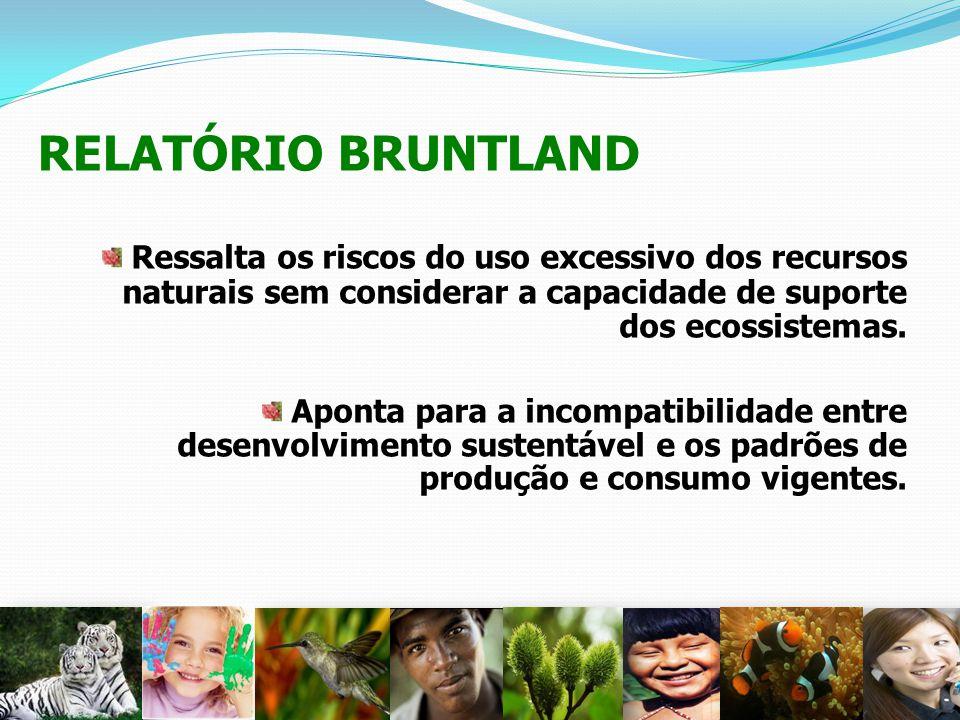 RELATÓRIO BRUNTLAND Ressalta os riscos do uso excessivo dos recursos naturais sem considerar a capacidade de suporte dos ecossistemas. Aponta para a i