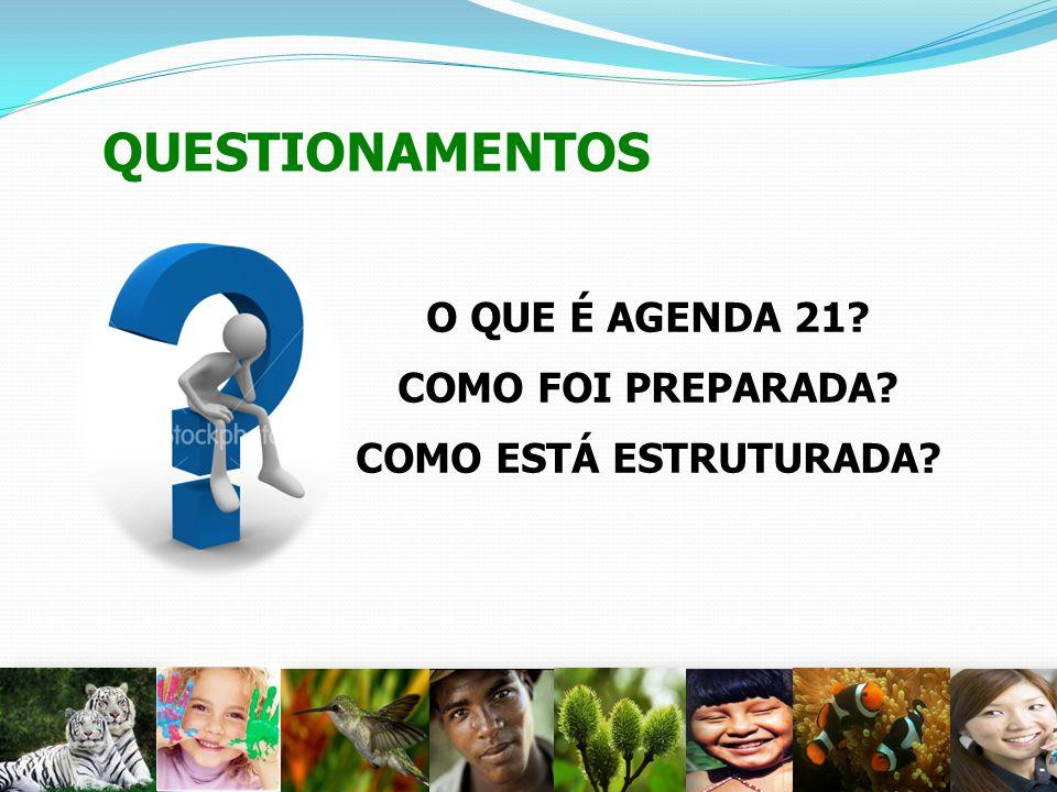 QUESTIONAMENTOS O QUE É AGENDA 21? COMO FOI PREPARADA? COMO ESTÁ ESTRUTURADA? 12