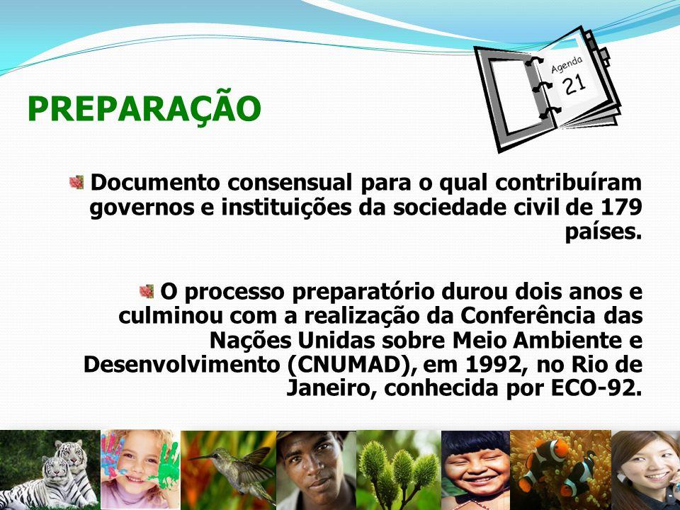 PREPARAÇÃO Documento consensual para o qual contribuíram governos e instituições da sociedade civil de 179 países. O processo preparatório durou dois