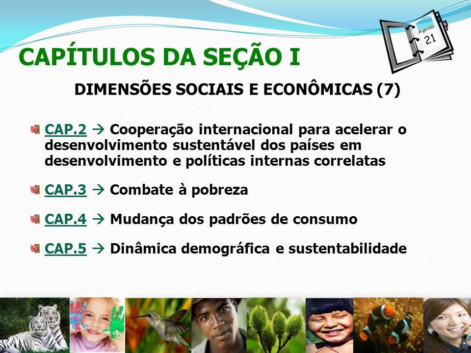 CAPÍTULOS DA SEÇÃO I DIMENSÕES SOCIAIS E ECONÔMICAS (7) CAP.2 Cooperação internacional para acelerar o desenvolvimento sustentável dos países em desen