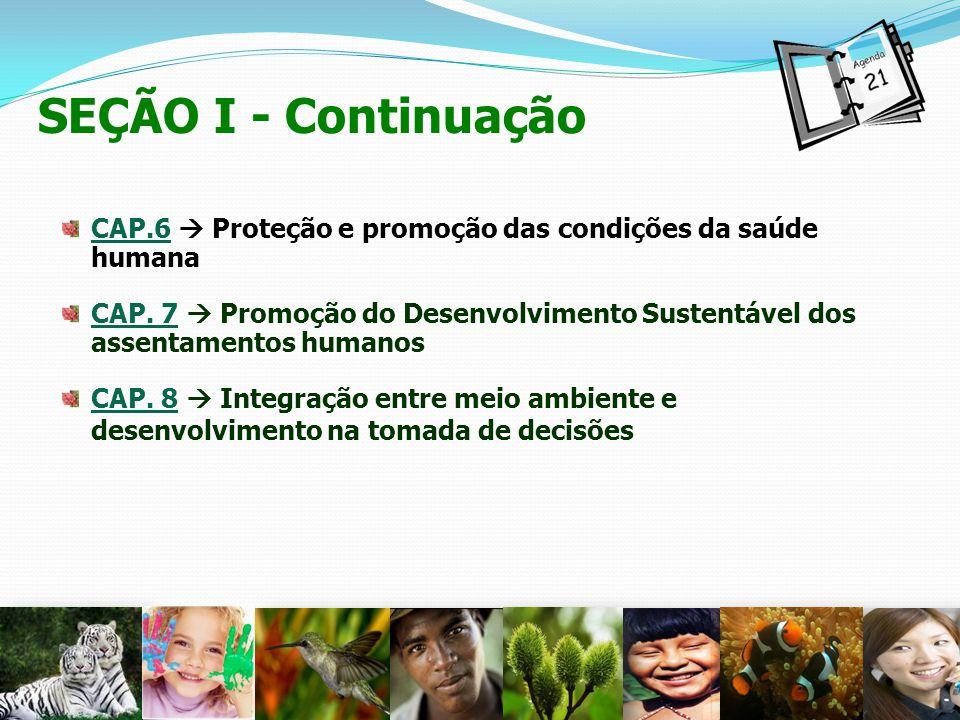 SEÇÃO I - Continuação CAP.6 Proteção e promoção das condições da saúde humana CAP. 7 Promoção do Desenvolvimento Sustentável dos assentamentos humanos