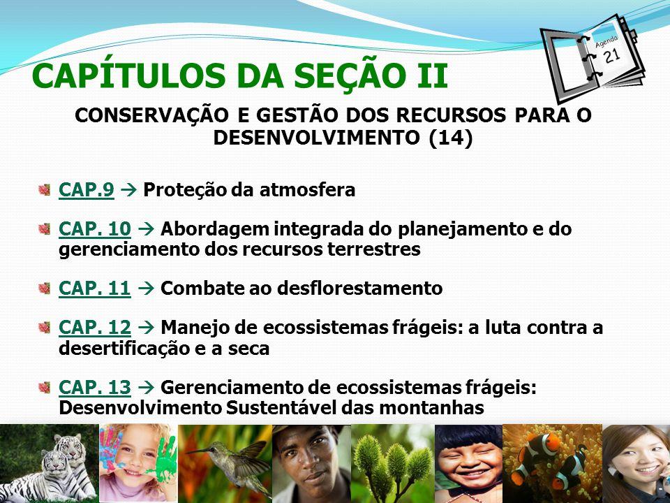 CAPÍTULOS DA SEÇÃO II CONSERVAÇÃO E GESTÃO DOS RECURSOS PARA O DESENVOLVIMENTO (14) CAP.9 Proteção da atmosfera CAP. 10 Abordagem integrada do planeja