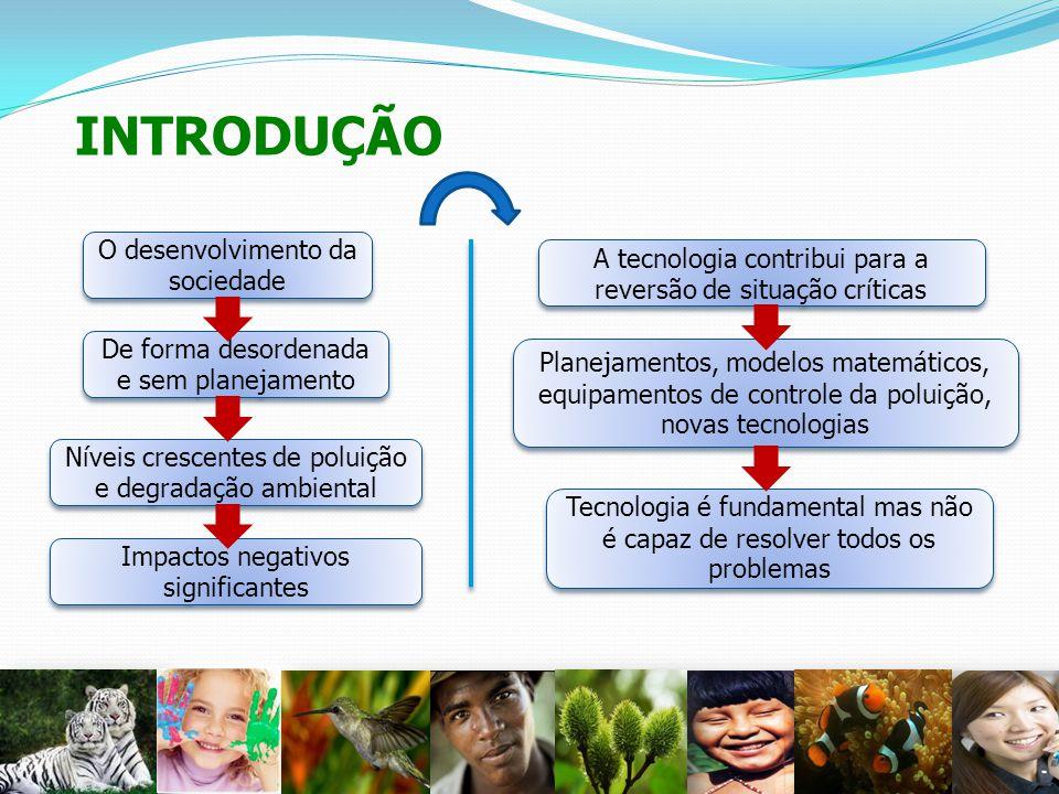 INTRODUÇÃO 2 O desenvolvimento da sociedade De forma desordenada e sem planejamento Níveis crescentes de poluição e degradação ambiental A tecnologia