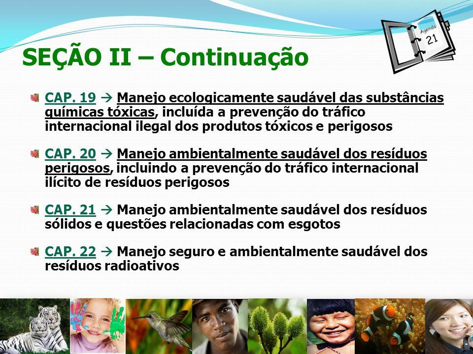 CAP. 19 Manejo ecologicamente saudável das substâncias químicas tóxicas, incluída a prevenção do tráfico internacional ilegal dos produtos tóxicos e p