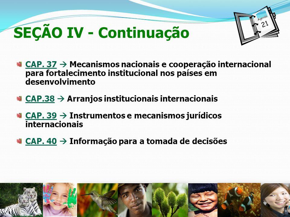 SEÇÃO IV - Continuação CAP. 37 Mecanismos nacionais e cooperação internacional para fortalecimento institucional nos países em desenvolvimento CAP.38