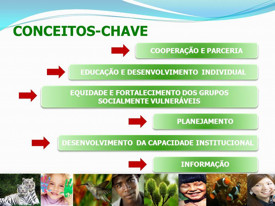 CONCEITOS-CHAVE 26 COOPERAÇÃO E PARCERIA EDUCAÇÃO E DESENVOLVIMENTO INDIVIDUAL EQUIDADE E FORTALECIMENTO DOS GRUPOS SOCIALMENTE VULNERÁVEIS PLANEJAMEN