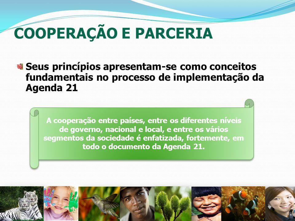 COOPERAÇÃO E PARCERIA Seus princípios apresentam-se como conceitos fundamentais no processo de implementação da Agenda 21 27 A cooperação entre países