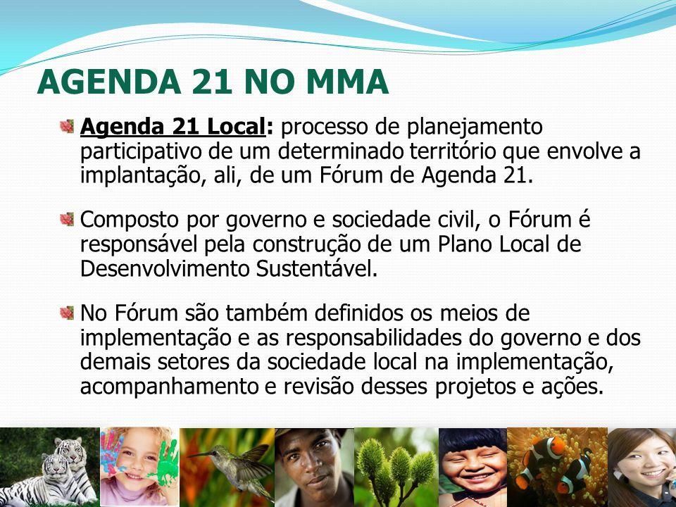 AGENDA 21 NO MMA Agenda 21 Local: processo de planejamento participativo de um determinado território que envolve a implantação, ali, de um Fórum de A
