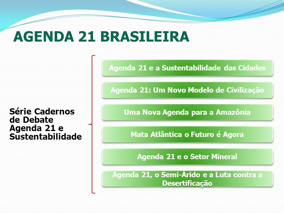 AGENDA 21 BRASILEIRA Série Cadernos de Debate Agenda 21 e Sustentabilidade Agenda 21 e a Sustentabilidade das Cidades Agenda 21: Um Novo Modelo de Civ